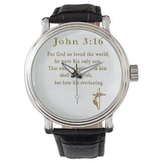 Regalos del cristiano del 3:16 de Juan Relojes De Mano