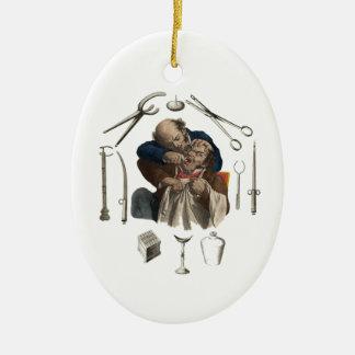 regalos del dentista del vintage adorno navideño ovalado de cerámica
