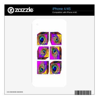 Regalos del diseño de bloque de la pluma del pavo iPhone 4 skin