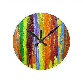 Regalos del diseño del arte abstracto de los color reloj redondo mediano