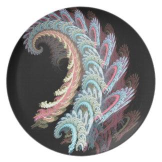 Regalos del diseño del arte del fractal de Paisley Plato