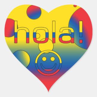 Regalos del Ecuadorian Hola Hola + Cara sonriente Pegatina De Corazón
