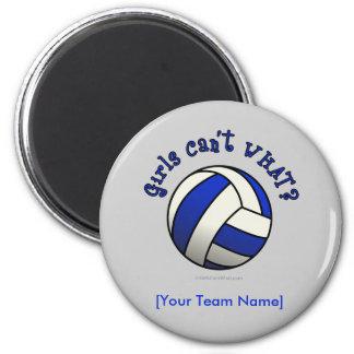 Regalos del equipo del voleibol - azul imán redondo 5 cm
