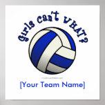 Regalos del equipo del voleibol - azul posters