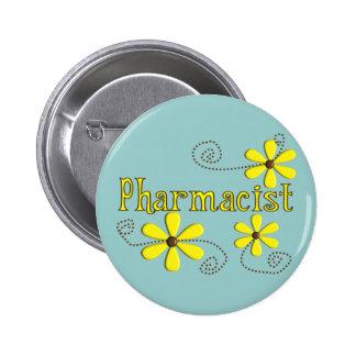 Regalos del farmacéutico, margaritas amarillas pin redondo de 2 pulgadas