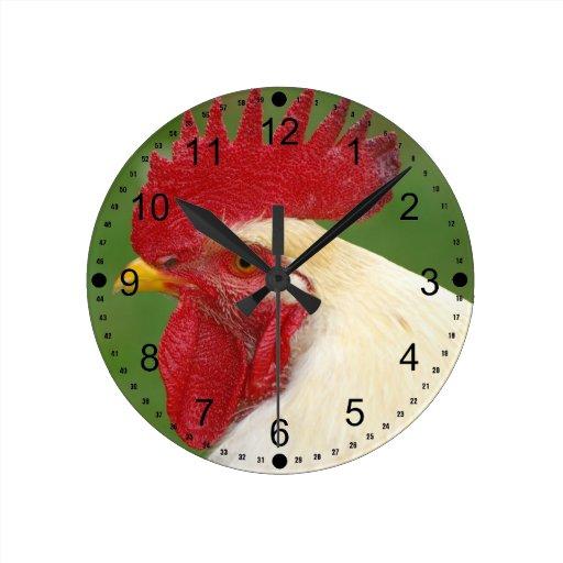 Regalos del gallo del país del peine del gallo roj reloj redondo mediano