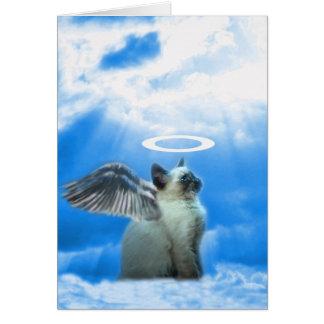 Regalos del gatito del ángel tarjeta de felicitación