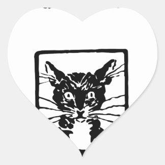 Regalos del gato negro pegatina corazón personalizadas