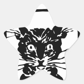 Regalos del gato negro pegatina en forma de estrella