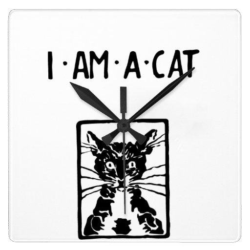 Regalos del gato negro reloj cuadrado