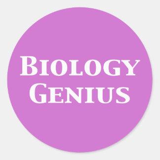 Regalos del genio de la biología pegatina redonda