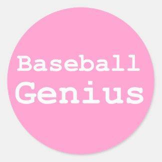 Regalos del genio del béisbol pegatina redonda