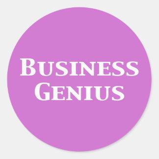 Regalos del genio del negocio pegatina redonda