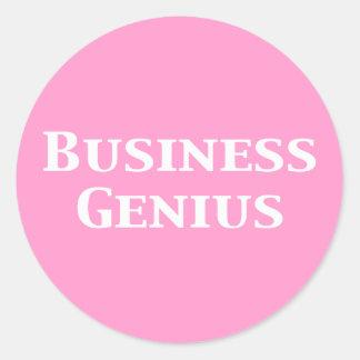 Regalos del genio del negocio etiqueta redonda