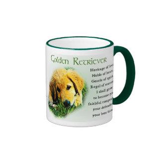 Regalos del golden retriever, tazas de oro de los
