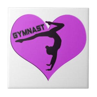 Regalos del Handstand del corazón del gimnasta Azulejo Cuadrado Pequeño