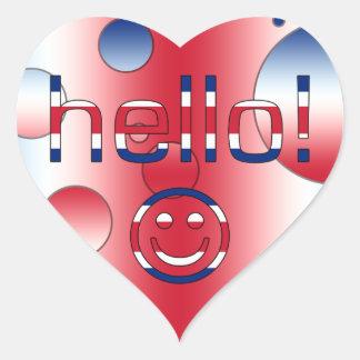 Regalos del inglés británico Hola + Cara sonrient Pegatinas Corazon Personalizadas