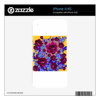Regalos del jardín de las correhuelas de los rosas calcomanías para iPhone 4