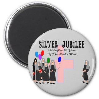 Regalos del jubileo de plata de las monjas imán redondo 5 cm