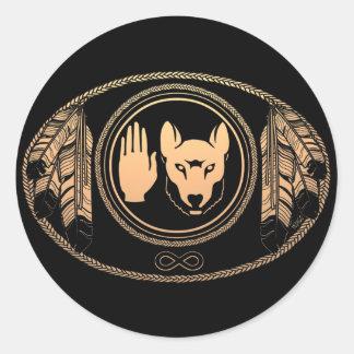 Regalos del lobo de las naciones de los pegatinas pegatinas redondas