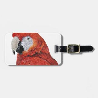 Regalos del loro del Macaw del escarlata Etiquetas Para Equipaje