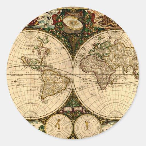 Regalos del mapa de Viejo Mundo Etiquetas Redondas