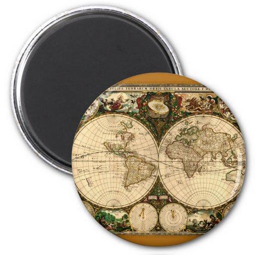 Regalos del mapa de Viejo Mundo Imán Redondo 5 Cm