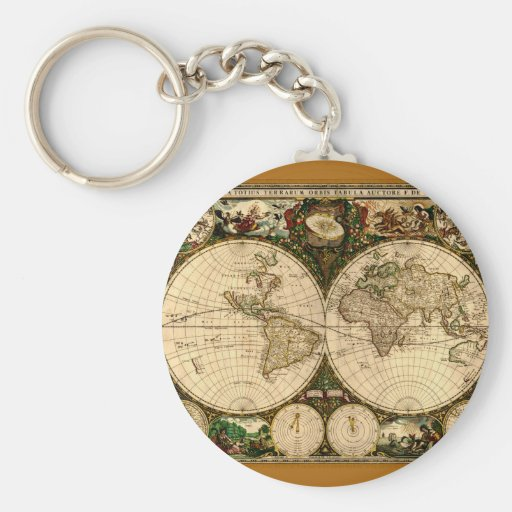 Regalos del mapa de Viejo Mundo Llavero Redondo Tipo Pin