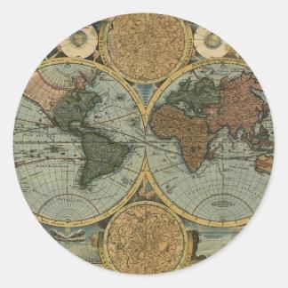 Regalos del mapa de Viejo Mundo Pegatina Redonda