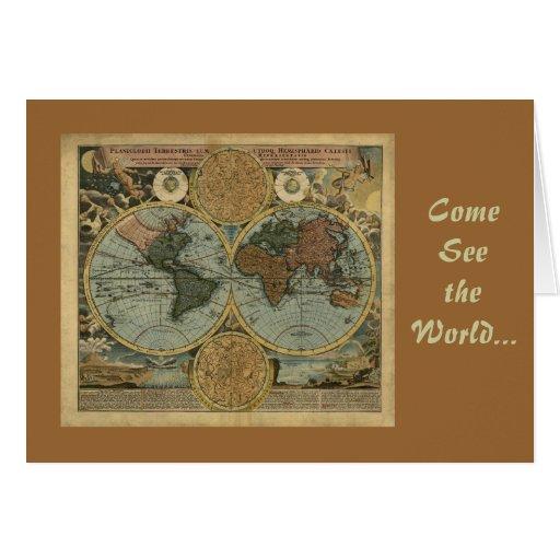 Regalos del mapa de Viejo Mundo Tarjeta De Felicitación