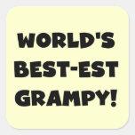 Regalos del Mejor-est Grampy del mundo negro del t Pegatinas