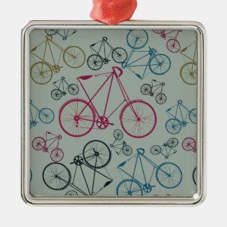 Regalos del modelo de la bicicleta del vintage adorno navideño cuadrado de metal