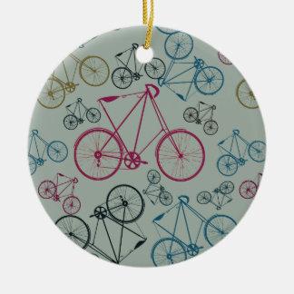 Regalos del modelo de la bicicleta del vintage adorno navideño redondo de cerámica