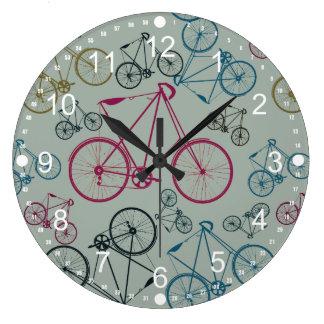 Regalos del modelo de la bicicleta del vintage par reloj redondo grande