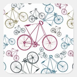 Regalos del modelo de la bicicleta del vintage pegatina cuadrada