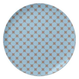 Regalos del modelo de lunar del moreno de los azul platos para fiestas