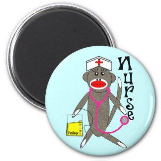Regalos del mono del calcetín de la enfermera imán redondo 5 cm