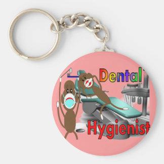 Regalos del mono del calcetín del higienista denta llavero redondo tipo pin