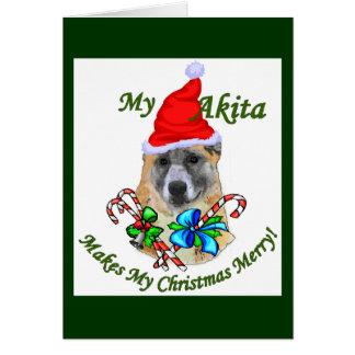 Regalos del navidad de Akita Tarjetón