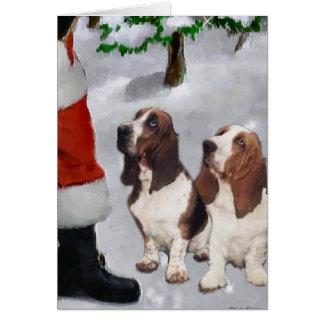Regalos del navidad de Basset Hound Tarjetas