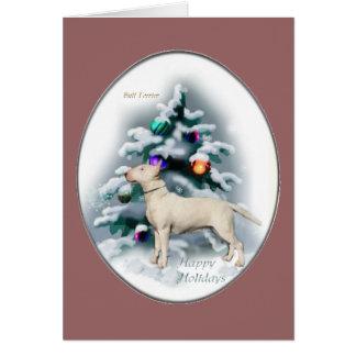 Regalos del navidad de bull terrier felicitacion