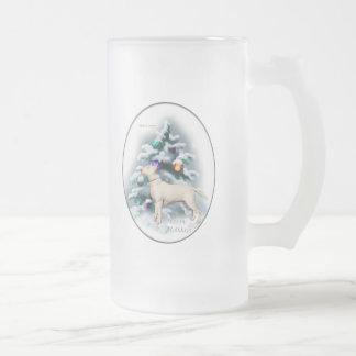 Regalos del navidad de bull terrier taza de cristal