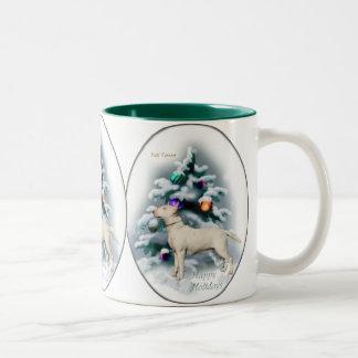 Regalos del navidad de bull terrier taza de dos tonos