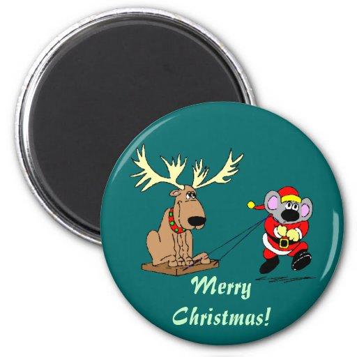 Regalos del navidad de Santa y del reno Imán Redondo 5 Cm
