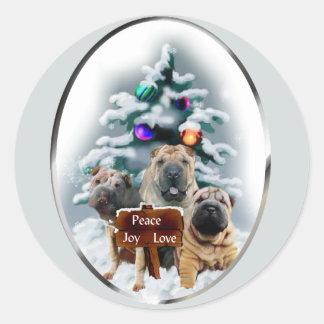 Regalos del navidad de Shar-Pei del chino Pegatina Redonda