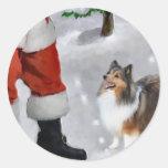 Regalos del navidad de Sheltie del perro pastor de Pegatinas Redondas