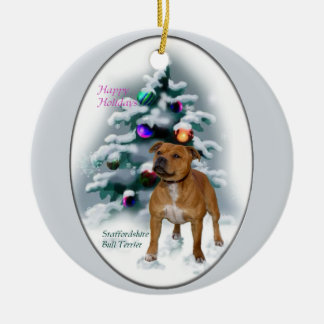 Regalos del navidad de Staffordshire bull terrier Ornamento Para Reyes Magos