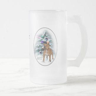 Regalos del navidad de Staffordshire bull terrier Taza Cristal Mate