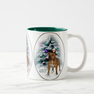 Regalos del navidad de Staffordshire bull terrier Taza Dos Tonos