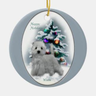 Regalos del navidad de Terrier blanco de montaña Adorno Navideño Redondo De Cerámica